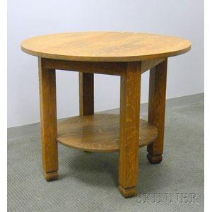 Arts & Crafts Circular Oak Table