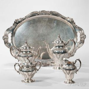 """Five-piece Gorham """"Chantilly"""" Pattern Sterling Silver Tea and Coffee Service"""