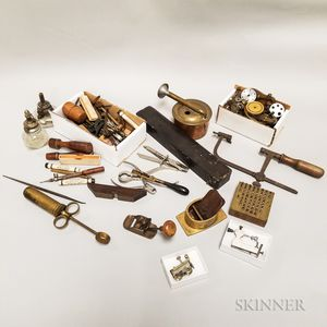 Collection of Miniature Woodworking Tools and Shop Tools
