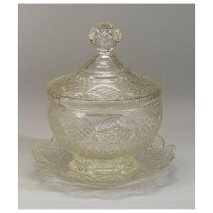 Anglo-Irish Colorless Cut Glass Covered Punch Bowl and Undertray