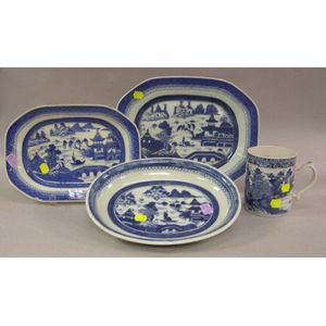 Chinese Export Porcelain Blue and White Decorated Serving Bowl, Mug, and Two Platters.