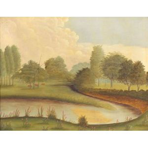 American School, 19th Century    Pastoral River Landscape with Cows.