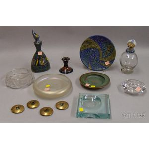 Small Group Art Glass and Pottery
