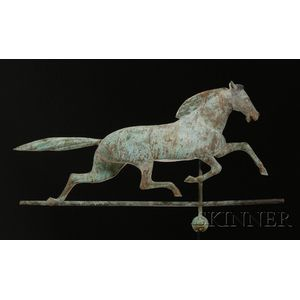 Large Molded Sheet Copper and Zinc Running Horse Weather Vane