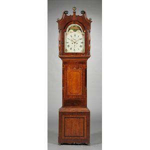 Regency Provincial Mahogany and Inlay Tallcase Clock