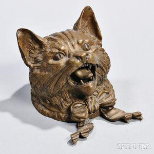 Bronze Cat Inkwell