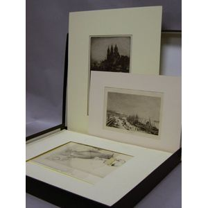 Folio Box of Matted Etchings and Other Prints