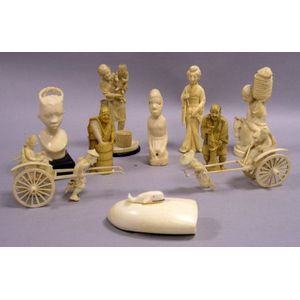 Ten Chinese, Eskimo, and African Carved Ivory Figures, Etc.