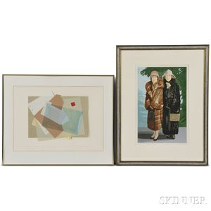 Natalie Hall Dymnicki (American, 1923-2000)      Two Prints: My Husbands Mother and Aunt Yonkers 1923