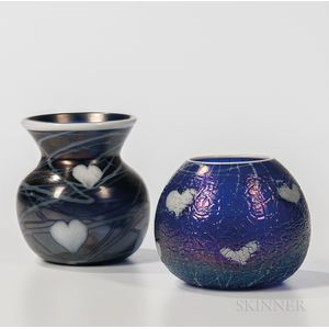 Two End of Day Imperial Art Glass Vases