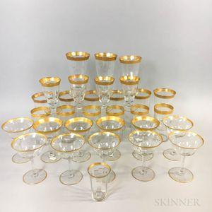 Thirty-one Pieces of Gold-rimmed Colorless Glass Stemware