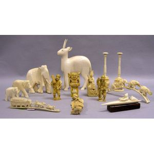 Fourteen Assorted Carved Ivory Items