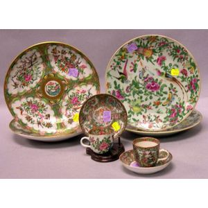 Four Chinese Export Porcelain Rose Canton Plates, and Two Cups and Saucers.