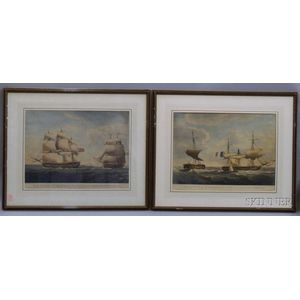 Pair of Framed Robert Dodd Hand-colored Prints View of the Hon.ble Companys Ship Warren Hastings...Before.....