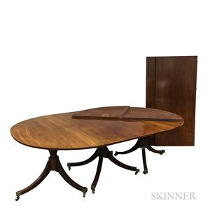 Georgian-style Mahogany Triple-pedestal Dining Table
