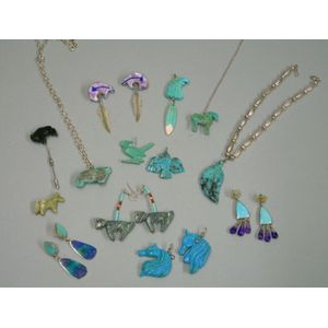 Group of Southwestern Silver and Fetish Jewelry