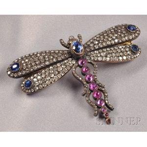 Antique Gem-set Butterfly Brooch, France