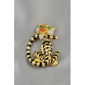 18kt Gold, Enamel, and Diamond Tiger Brooch, Cartier Inc.