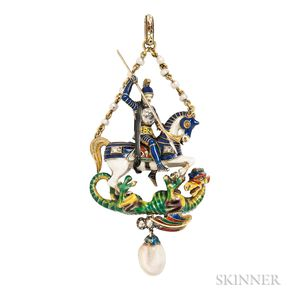 Fine Renaissance Revival Gold, Natural Pearl, Enamel, and Diamond Pendant