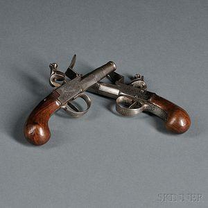 "Pair of ""Barbar"" Boxlock Flintlock Pistols"