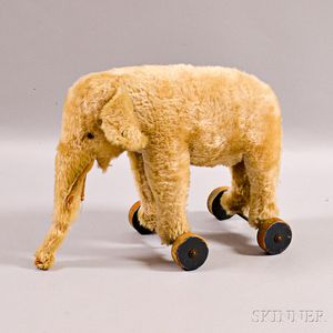 Steiff Blonde Mohair Elephant Pull-toy