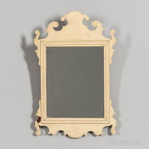 White-painted Scroll Frame Mirror