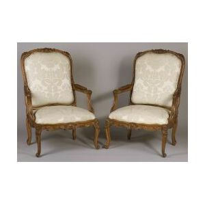 Pair of Regence-style Beechwood Open Armchairs