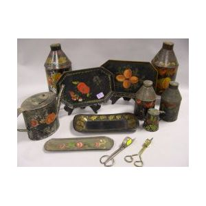 Ten Toleware Items and Two Pairs of Wick Scissors