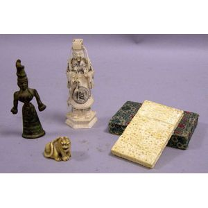 Asian Brocade Card Case, Bronze Figure, Carved Ivory Figure, and Netsuke.