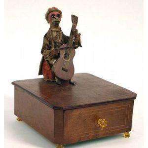 """Early Théroude Monkey Cellist Automaton Playing """"God Save the Queen"""""""