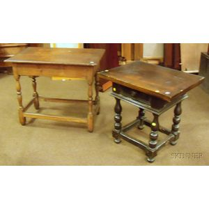 William & Mary Style Walnut Table with Drawer and a Pine Breadboard-top Maple Tavern   Table
