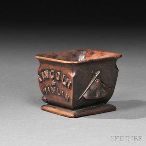 "Small Walnut Carved ""Lincoln & Hamlin"" Commemorative Cup"