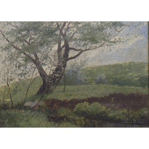 Framed American School Oil on Canvas Mounted to Board of 19th Century   Landscape with an Old Apple Tree by Stonewall
