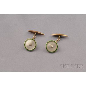 Antique 18kt Gold, Mother-of-pearl, Diamond and Enamel Cuff Links, France
