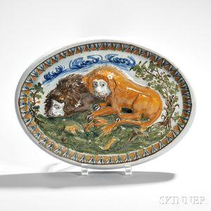 Pratt-type Pearlware Plaque with Lions