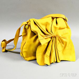 Carlos Falchi Yellow Leather Buffalo Crossbody Bag