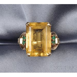 14kt Gold, Citrine, and Emerald Ring