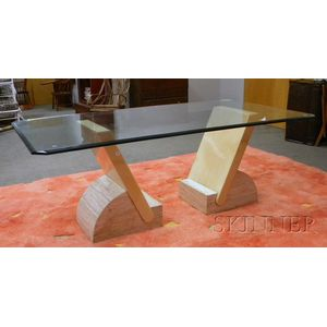 Glass-top Travertine Marble Laminated Dining Table