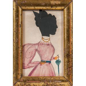 Hollow-cut and Watercolor Silhouette Portrait of a Woman in a Violet Dress