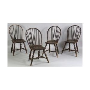 Assembled Set of Braced Bow-back Windsor Side Chairs