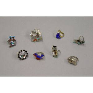 Seven Southwestern Silver and One 18kt Gold Rings