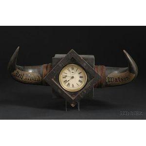 Presentation Clock with Buffalo Horn Mount