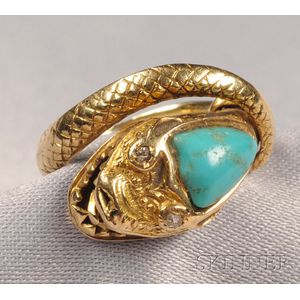 Antique Turquoise and Diamond Snake Ring