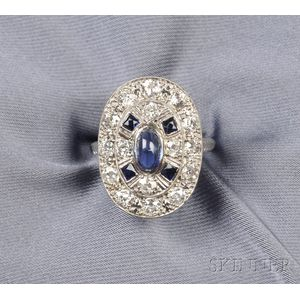Art Deco Platinum, Synthetic Sapphire, and Diamond Ring