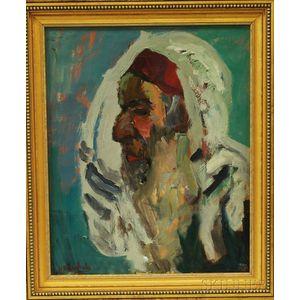 Moshe Rosenthalis (Lithuanian/Israeli, 1922-2008)      Profile of a Religious Elder, Probably a Rabbi.