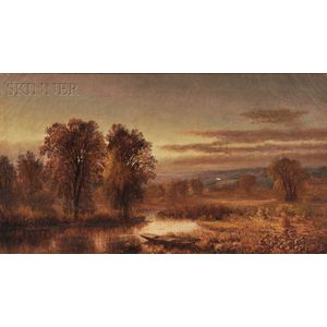 Attributed to Josephine Walters (American, 1837-1883)      Autumn River with Punt in the Reeds