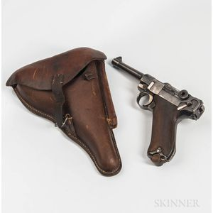 Erfurt P.08 Luger Semiautomatic Pistol with Original Matching Magazine