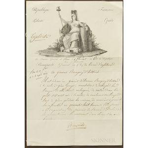 Napoleon Bonaparte (1769-1821) Document Signed, General Headquarters, Paris, 23 April 1798.