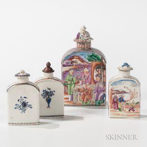 Four Export Porcelain Tea Caddies