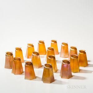 Twelve Tiffany Studios Gold Favrile and Four Similar Art Glass Shades